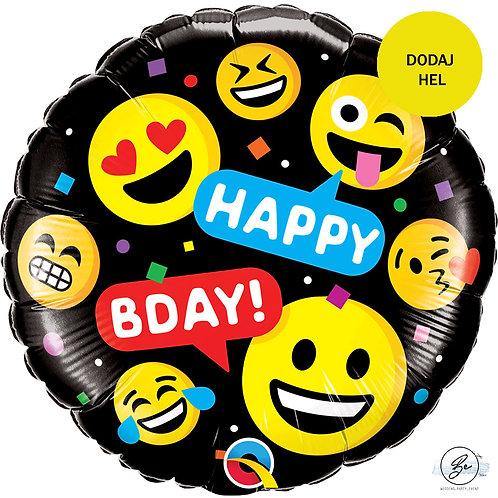 Balon foliowy 18 cali QL CIR - Smileys Happy BDAY!
