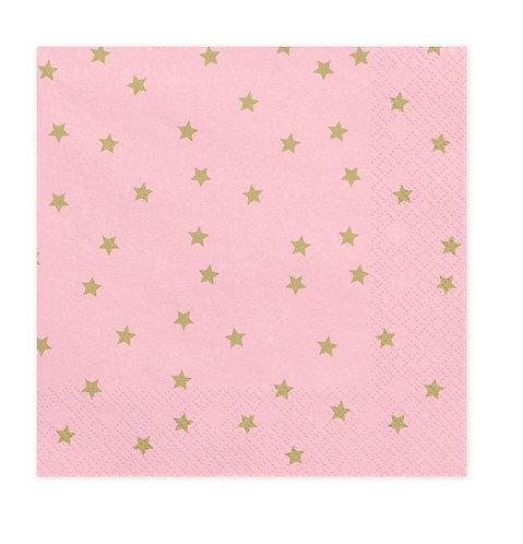 Serwetki Gwiazdki, jasny różowy, 33x33cm