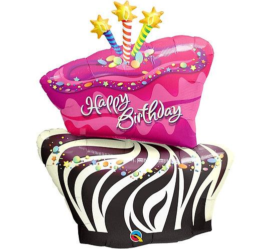 """Balon foliowy 41"""" QL SHP """"Tort-zebra Happy Birthday"""""""
