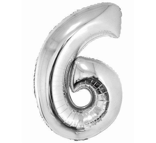 """Balon foliowy """"Cyfra 6"""", srebrna, 92 cm"""