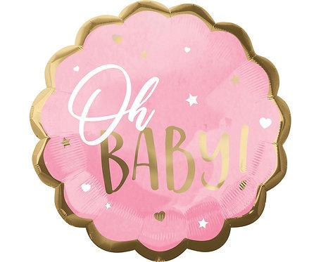 Balon foliowy Jumbo - Baby Girl, różowy,55x55 cm