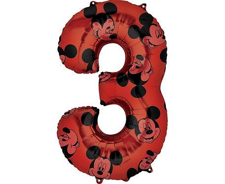 Balon foliowy cyfra 3 Myszka Mickey, czerwony, 66 cm