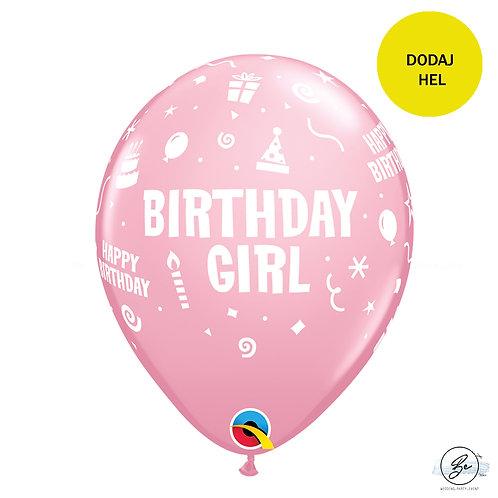"""Balon QL 11"""" z nadr. """"Birthday Girl"""", pastel różowy"""
