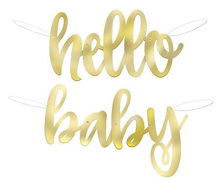 Banner Hello Baby, złoty, rozm. 104 cm
