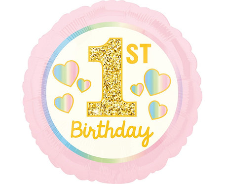Balon foliowy 18 cali CIR - 1 st Birthday, różowy