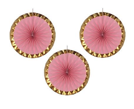 Rozeta dekoracyjna PB&C, różowa, 40 cm, 3 szt.