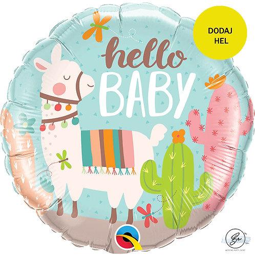 Balon foliowy 18 cali QL CIR - Hello Baby LLama