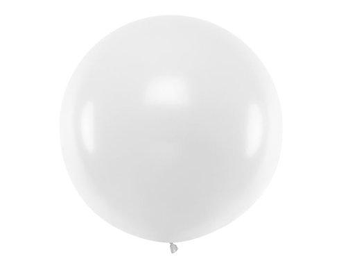 Balon gigant okrągły Pastel White, z możliwością personalizacji