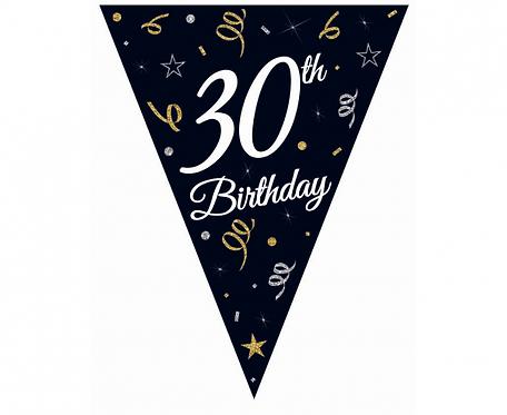 """Girlanda papierowa Beauty&Charm z flagami """"30"""", 28x270 cm"""