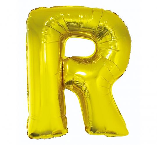 """Balon foliowy """"Litera R"""", złota, 89 cm"""