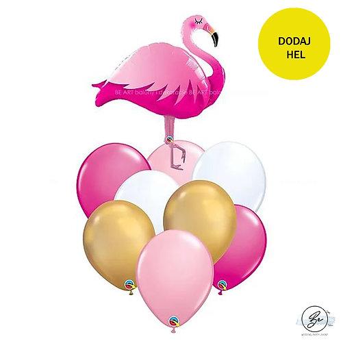 Bukiet balonowy Gold Flamingo 9 szt
