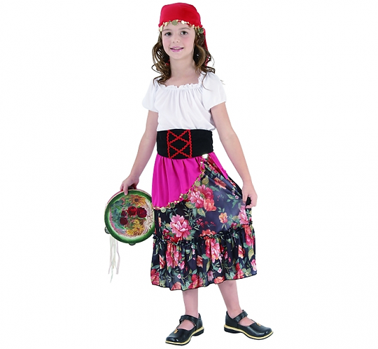 """Strój dla dzieci """"Cyganka"""" (koszula, spódnica, pasek, nakrycie głowy), rozm. 130"""