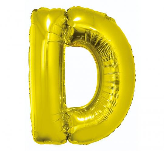 """Balon foliowy """"Litera D"""", złota, 89 cm"""