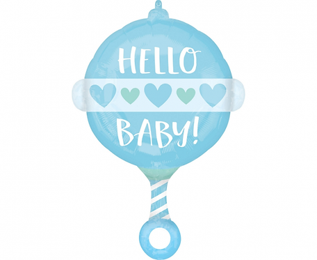 Balon foliowy CIR Hello Baby, niebieski, 43x60 cm