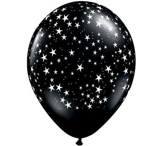 """Balon QL 11"""" z nadr. """"Gwiazdki"""" białe, pastel czarny"""