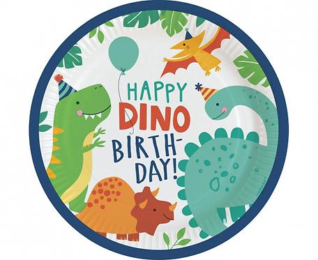 Talerzyki papierowe Dino-Mite, okrągłe 23 cm, 8 szt.