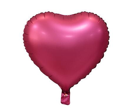 """Balon foliowy """"Serce"""", matowe, c. różowe, 18"""""""