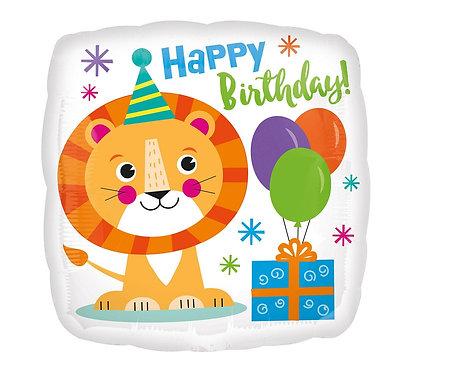 Balon foliowy 18 cali CIR - Urodzinowy lew