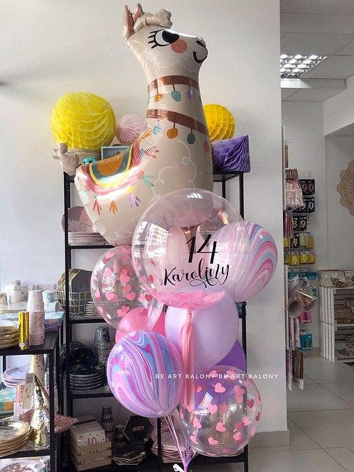 """Balon spersonalizowany 24"""" z napisem w piórkach napełniony helem"""
