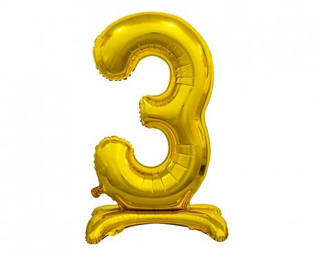 Balon foliowy B&C Cyfra stojąca 3, złota, 74 cm