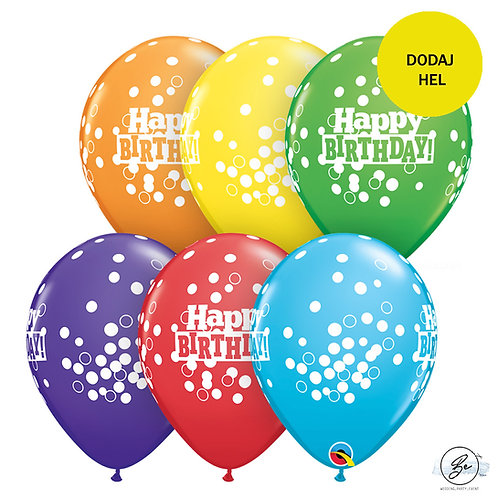 "Balon QL 11"" z nadr. "" Happy Birthday Confetti Dots"""