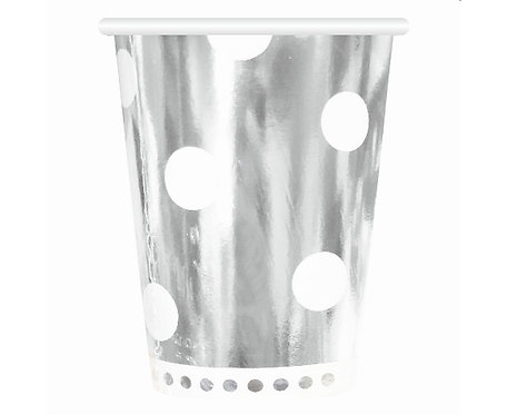 Kubeczki papierowe B&C Groszki, srebrne, 266 ml, 6 szt.