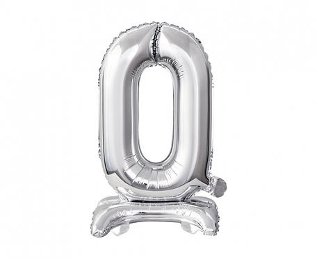 Balon foliowy B&C Cyfra stojąca 0, srebrna, 38 cm