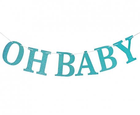Girlanda papierowa brokatowa B&G Oh Baby, jasnoniebieska, DIY