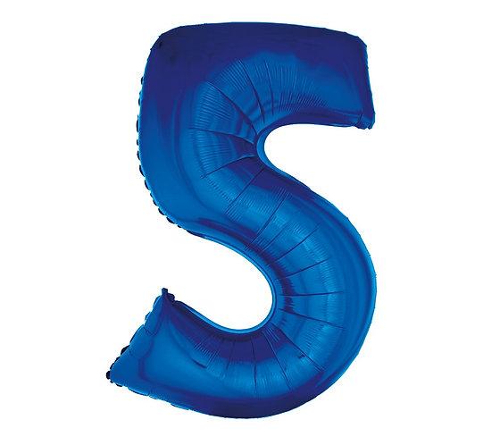 """Balon foliowy """"Cyfra 5"""", niebieska, 92 cm"""