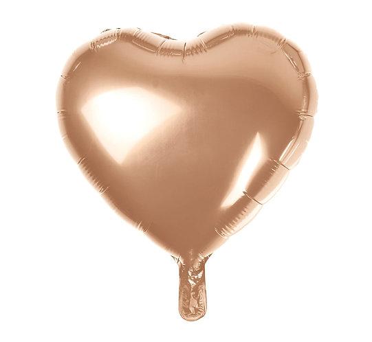 """Balon foliowy """"Serce"""", różowo-złote, 18"""""""