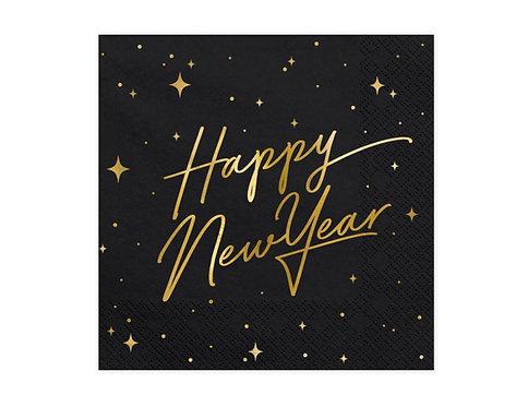 Serwetki Happy New Year, czarny, 33x33cm