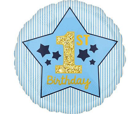 Balon foliowy 18 cali CIR - 1 st Birthday, niebieski