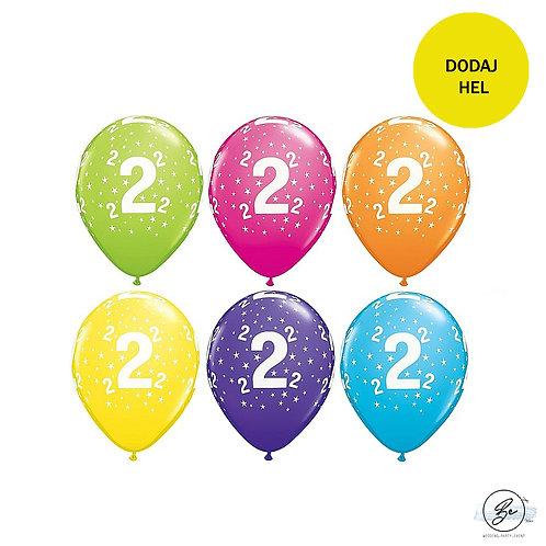 """Zestaw balonów 6 szt  QL 11"""" z nadr. """"2"""", pastel mix tropikalny"""