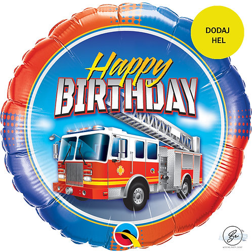"Balon foliowy 18"" QL CIR ""Birthday Fire Truck (happy birthday)"""