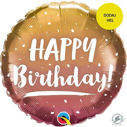 Balon foliowy 18 cali QL  Happy Birthday, ombre, różowo-złoty