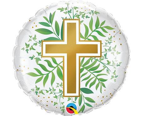 Balon foliowy 18 cali QL RND Złoty Krzyż
