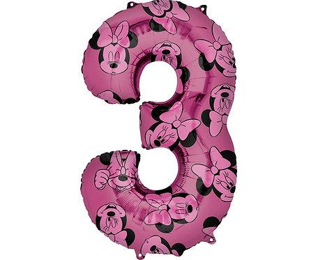 Balon foliowy cyfra 3 Myszka Minnie, fioletowy, 66 cm