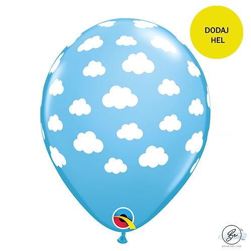 """Balon QL 11"""" z nadr. """" Clouds """", pastel błękitny karaibski"""