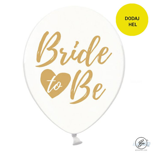 Balony Bride to be, Crystal Clear ze złotym nadrukiem