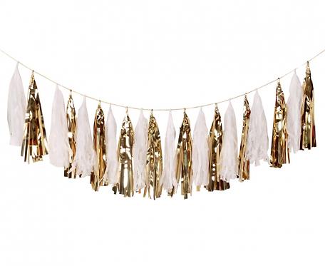 Girlanda W&C Frędzelki, złota, 36x250 cm, 20 szt.