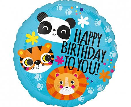 Balon foliowy 18 cali CIR - Urodzinowe zwierzątka