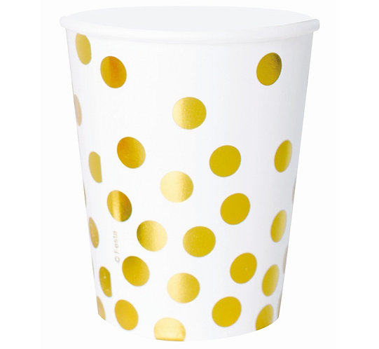 """Kubeczki papierowe """"Złote groszki"""", białe, 270 ml, 6 szt."""