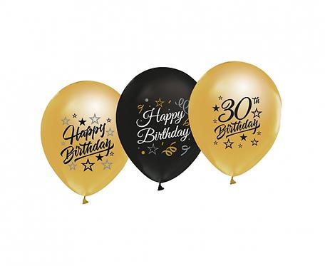 """Balony Beauty&Charm 12"""" z nadrukiem """"30"""", złote i czarne, 5 szt."""