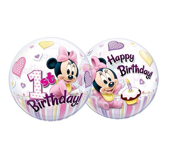"""Balon foliowy 22"""" QL Bubble Poj. Minne Mouse 1 Urodziny"""