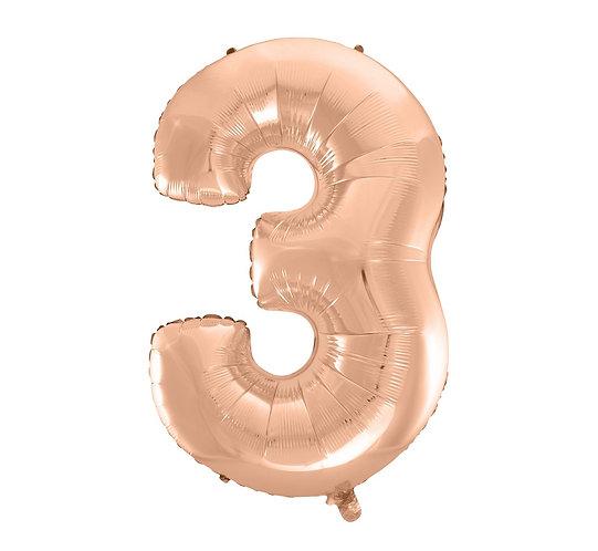 """Balon foliowy """"Cyfra 3"""", różowo-złota, 92 cm"""