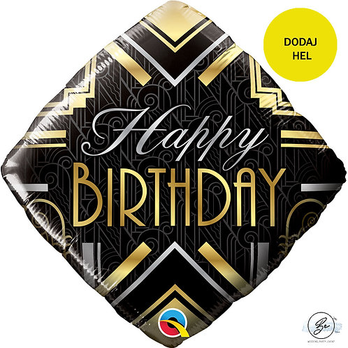 "Balon foliowy 18"" QL SQR ""Happy Birthday Art Deco"""