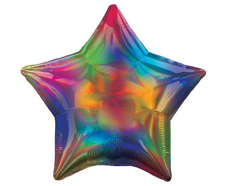 Balon foliowy 18 cali STR - Gwiazda Tęczowa opalizująca, ciemne kolory
