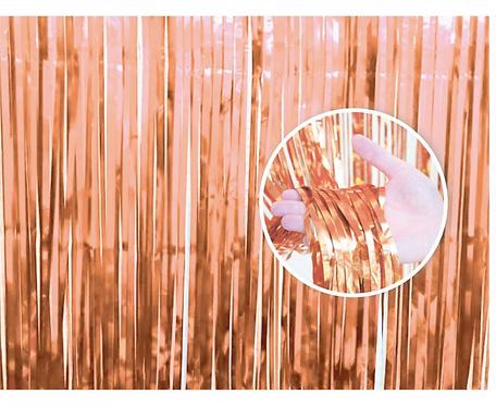 Kurtyna dekoracyjna B&C różowo-złota, 90x240 cm