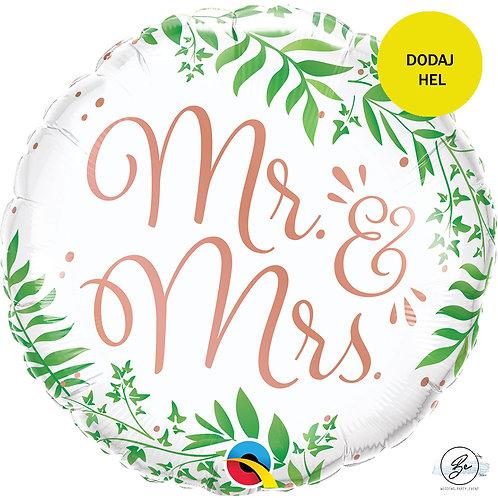 Balon foliowy 18 cali QL RND Mr&Mrs Elegant Greenery
