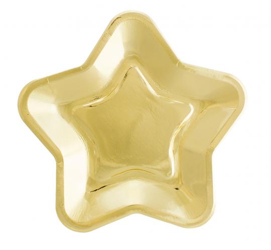 Talerzyki w kształcie gwiazdy, złota gwiazda talerz, talerze na sylwestra